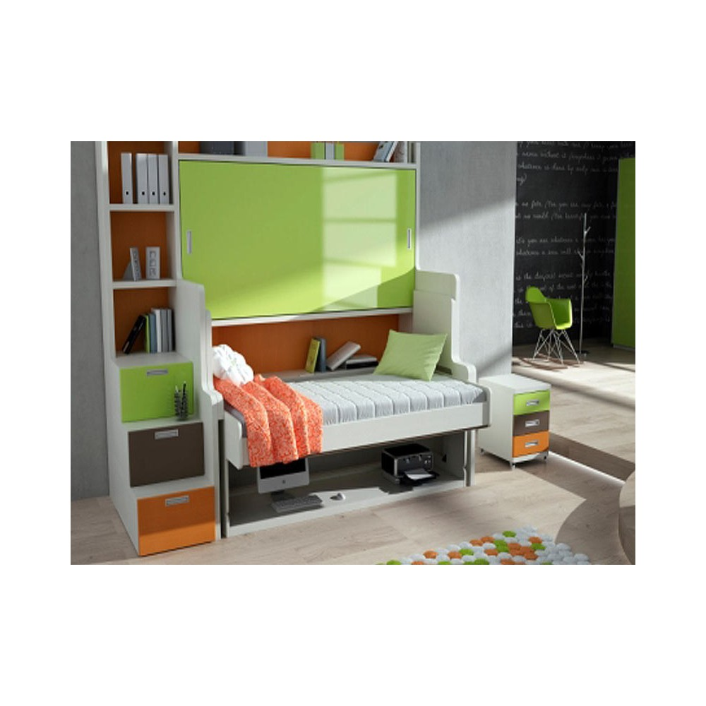 Litera abatible con escritorio ablates literas abatibles for Cama nido con litera abatible